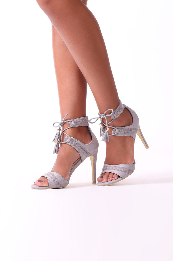 SCM0078-GREY SUEDE PLAIT STRAPPY HEELS view main view