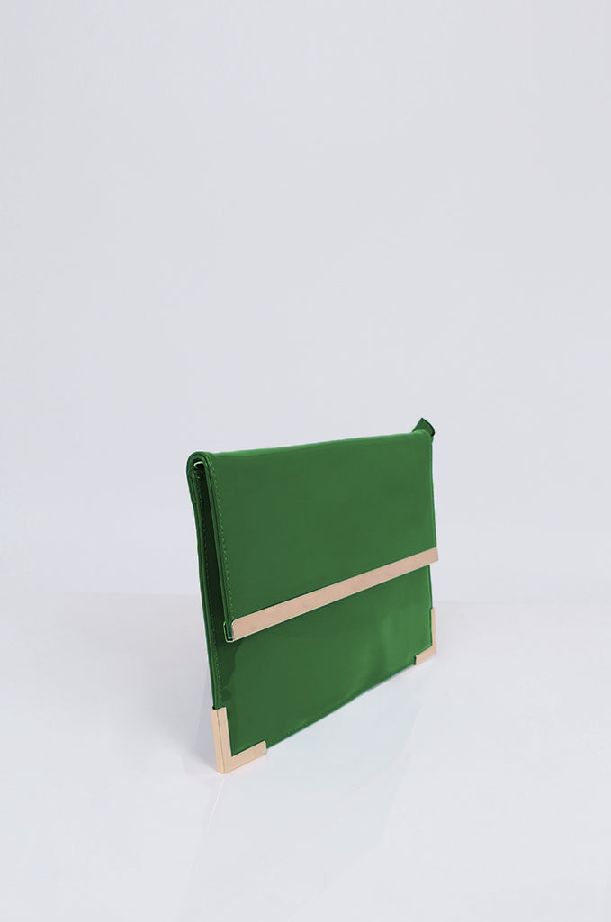 SMB1968-GREEN PATENT SQUARE ENVELOPE CLUTCH BAG view 2
