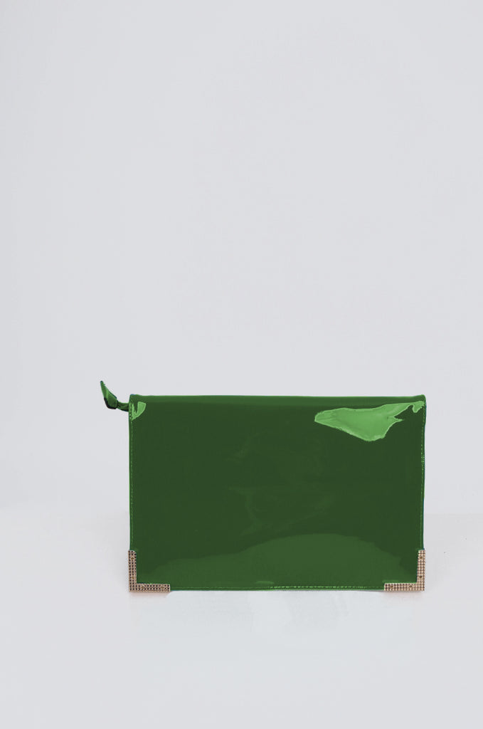 SMB1968-GREEN PATENT SQUARE ENVELOPE CLUTCH BAG view 4
