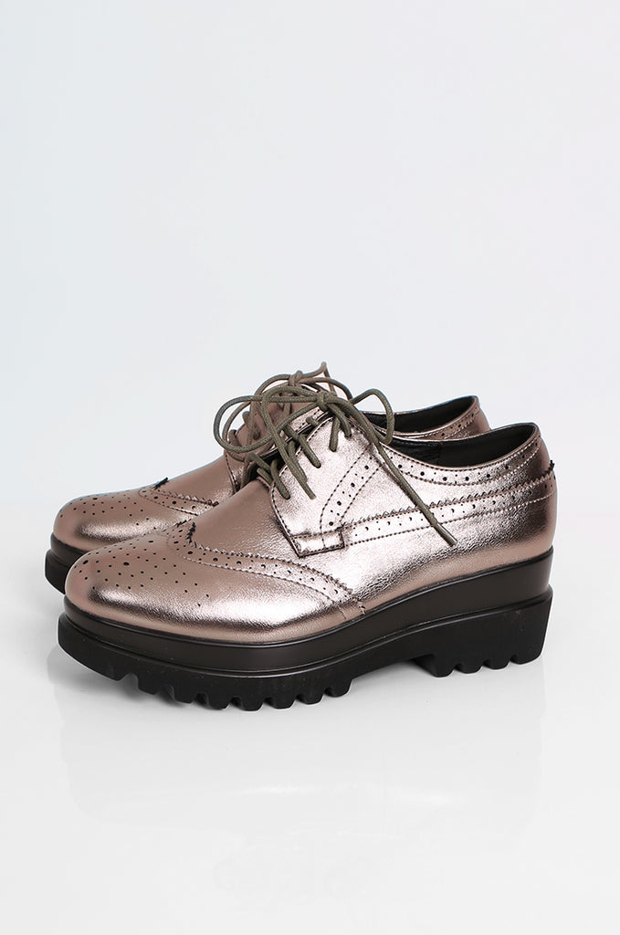 SEW2179-GREY PLATFORM LACE UP BROGUES view main view