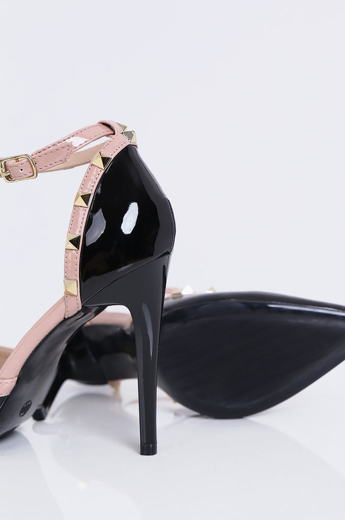 SMY1782-BLACK PATENT STUD ANKLE STRAP STILETTO view 4