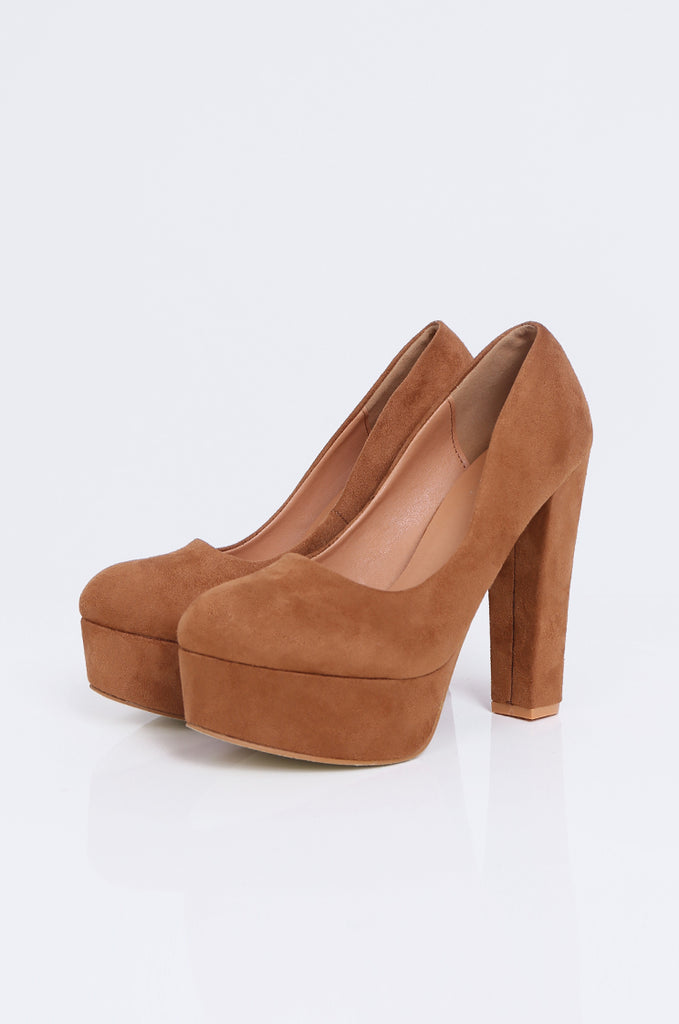 SW1806-TAN ROUND TOE CHUNKY HEEL PLATFORM PUMPS view main view