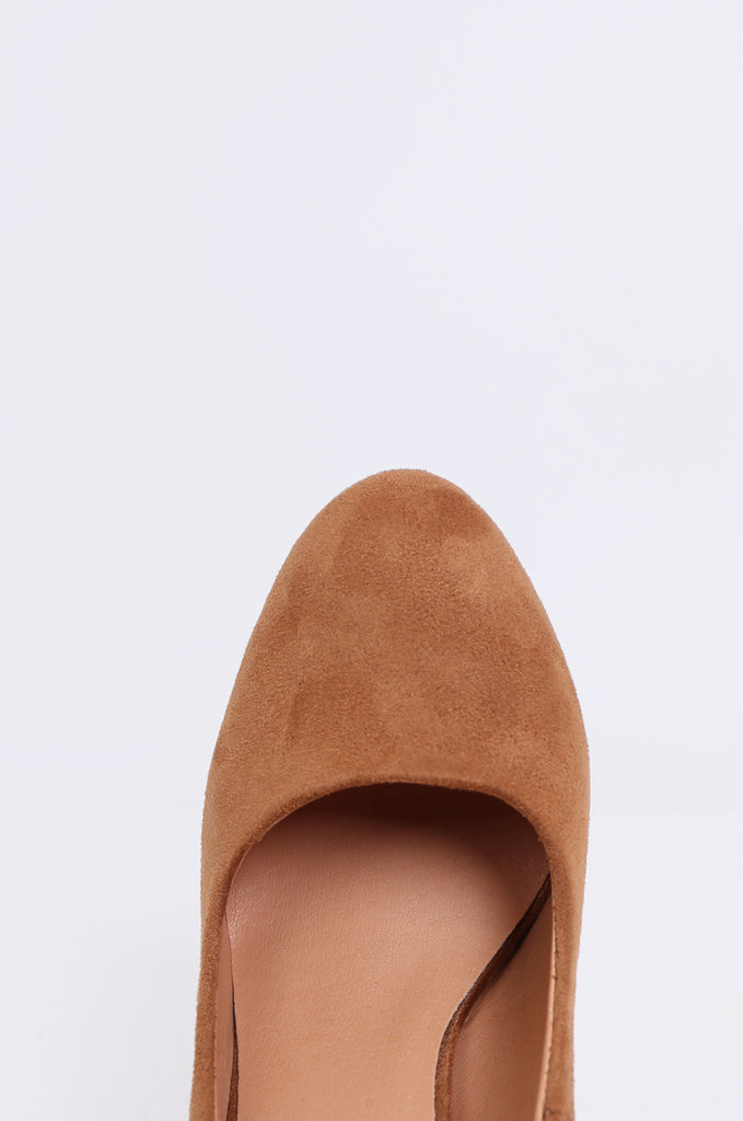 SW1806-TAN ROUND TOE CHUNKY HEEL PLATFORM PUMPS view 3