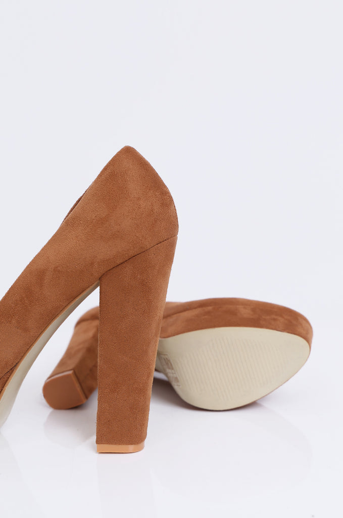SW1806-TAN ROUND TOE CHUNKY HEEL PLATFORM PUMPS view 4