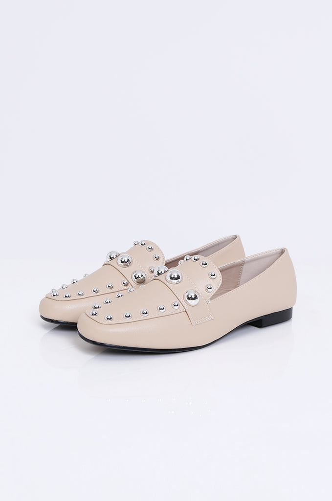 SMY1835-BEIGE STUDDED ROUND TOE LOAFER view main view