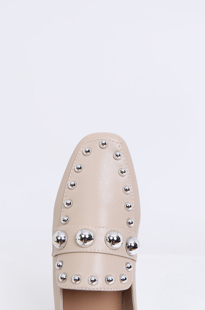 SMY1835-BEIGE STUDDED ROUND TOE LOAFER view 3