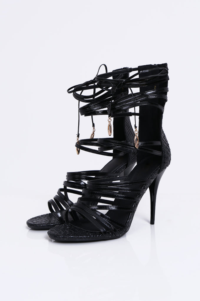 SW1808-BLACK PATENT GLADIATOR STILETTO