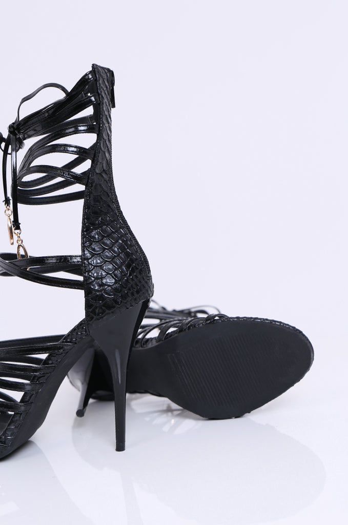 SW1808-BLACK PATENT GLADIATOR STILETTO view 4