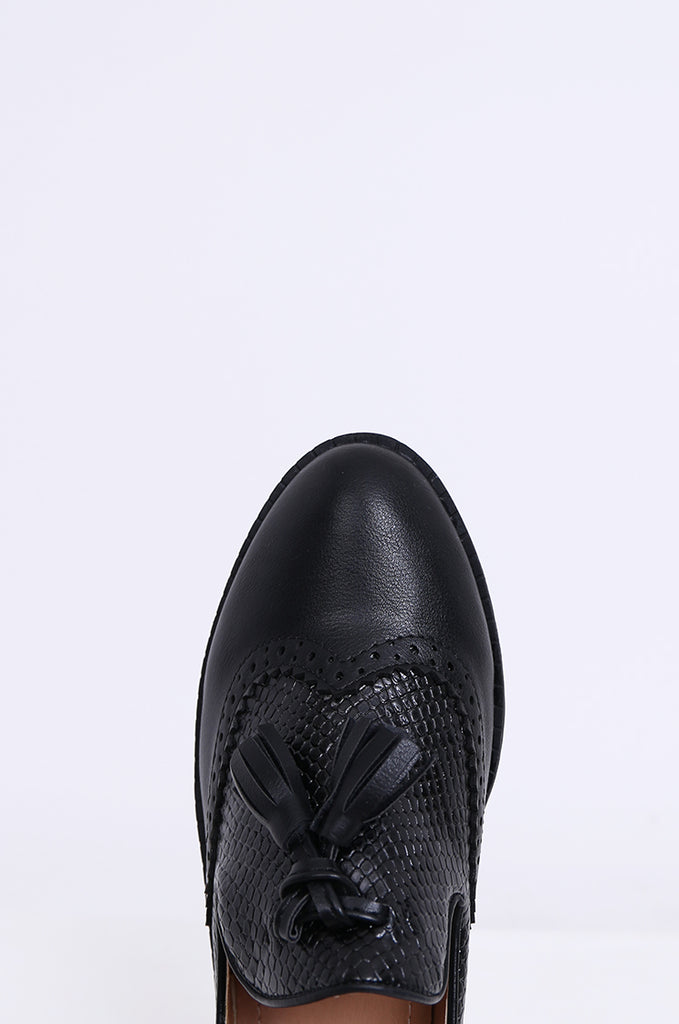 SW1843-BLACK PLATFORM TASSLE SNAKESKIN BROGUE LOAFERS view 3