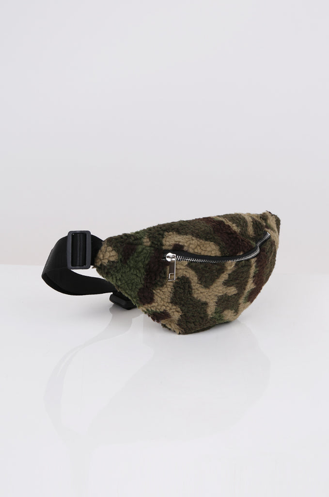 SPS2361-GREEN CAMO TEDDY BUM BAG view main view
