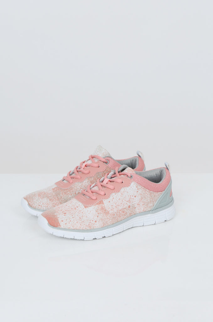 SQC2441-PINK LACE UP SPECKLE DESIGN TRAINERS