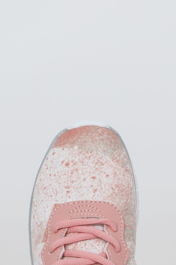 SQC2441-PINK LACE UP SPECKLE DESIGN TRAINERS view 2