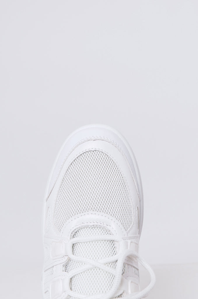 SMF2085-WHITE CUT OUT MESH & LEATHERETTE TRAINERS view 3