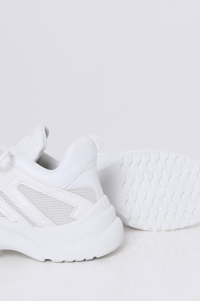 SMF2085-WHITE CUT OUT MESH & LEATHERETTE TRAINERS view 4