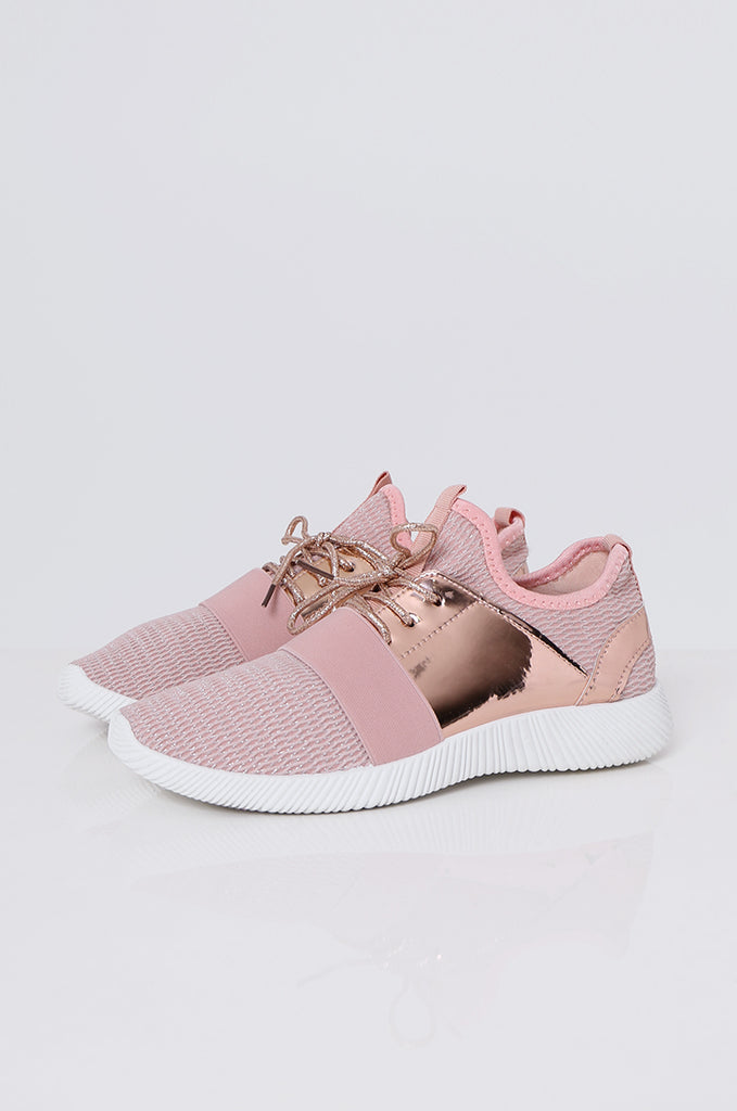 SMF2086-PINK METALLIC TRIM MESH TRAINERS