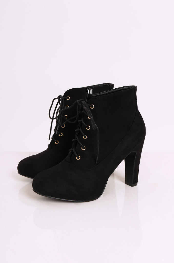 SEW2180-BLACK LACE UP HEEL BOOTS