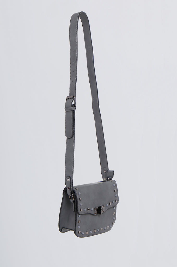 SMB2170-CHARCOAL STUDDED FRONT CROSS BODY BAG view 2