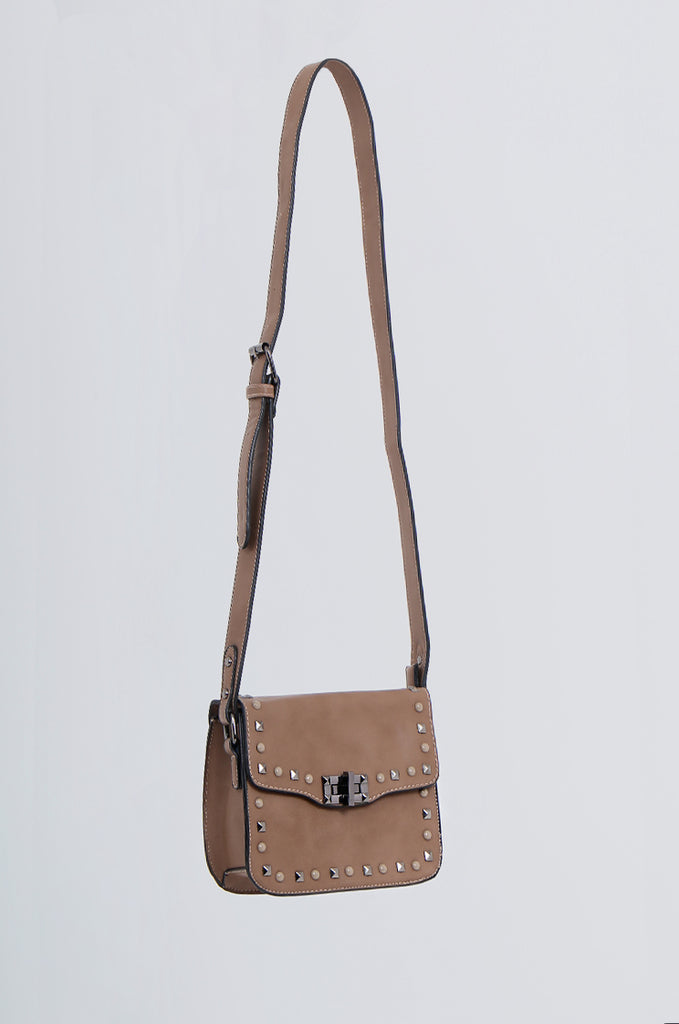 SMB2170-BROWN STUDDED FRONT CROSS BODY BAG view 2