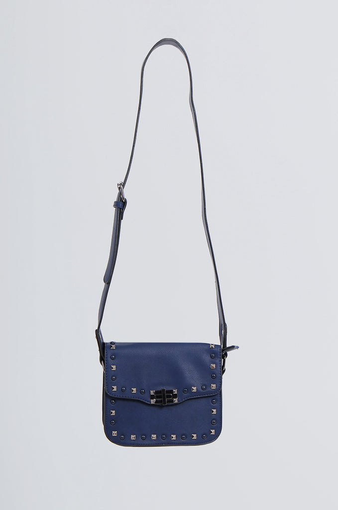 SMB2170-NAVY STUDDED FRONT CROSS BODY BAG view main view