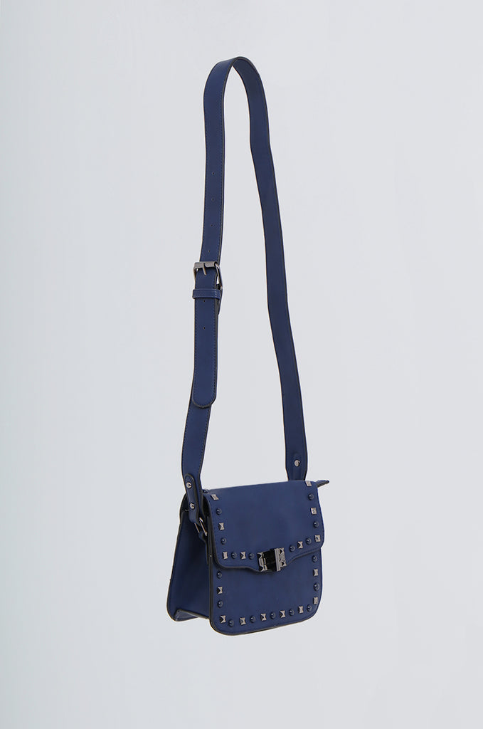 SMB2170-NAVY STUDDED FRONT CROSS BODY BAG view 2