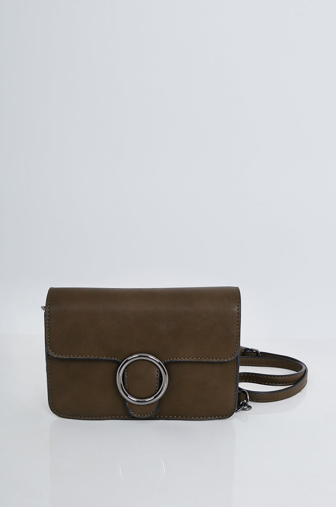 SMB2169-OLIVE CROSS BODY ROUND BUCKLE BAG