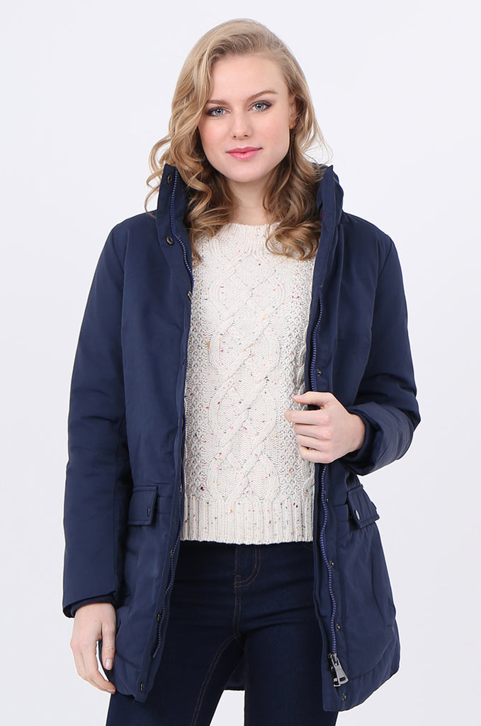 STT2097-NAVY PUFFER PARKER COAT view 2