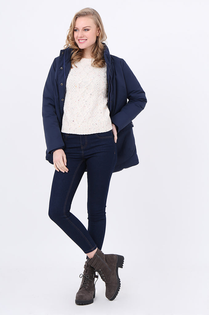 STT2097-NAVY PUFFER PARKER COAT view main view