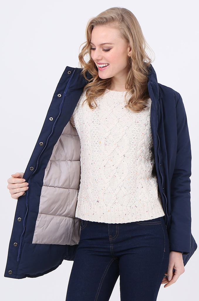 STT2097-NAVY PUFFER PARKER COAT view 3