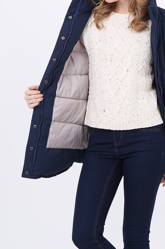 STT2097-NAVY PUFFER PARKER COAT view 5