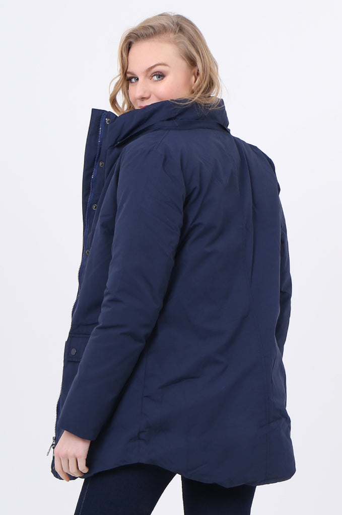 STT2097-NAVY PUFFER PARKER COAT view 4