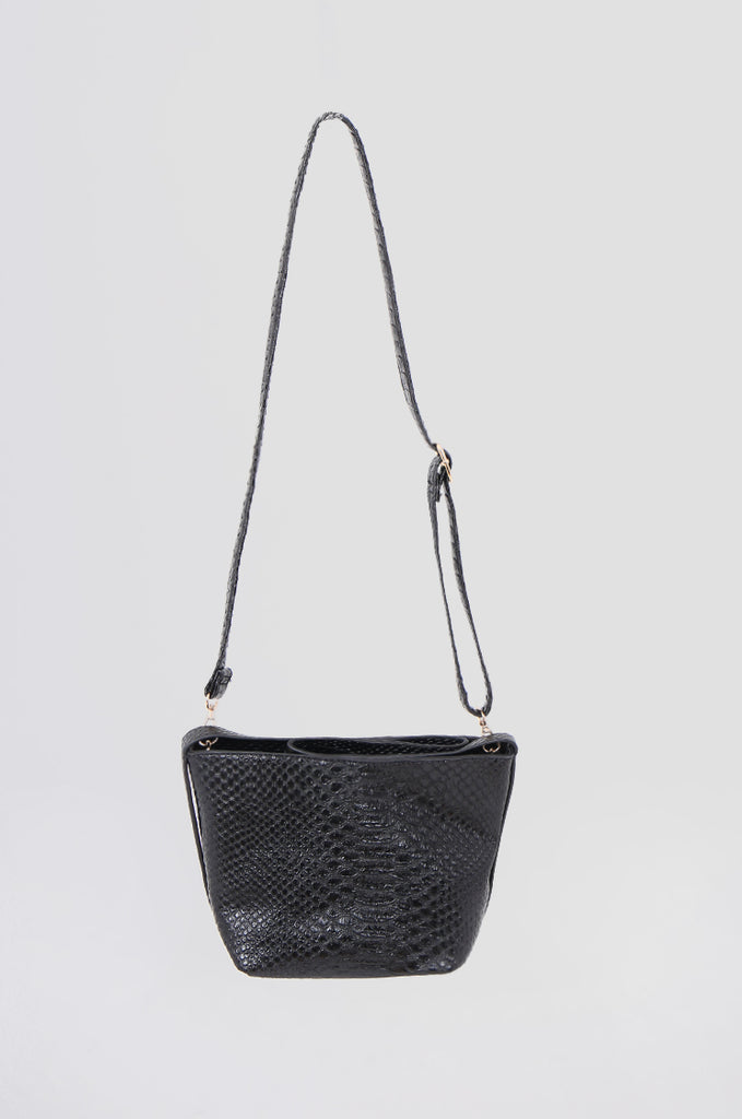 SMB0466-BLACK CROCODILE SHOULDER BAG