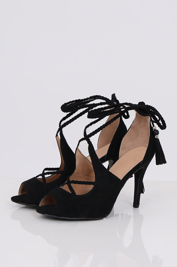 SBA0489-BLACK PLAIT STRAP HEEL view main view