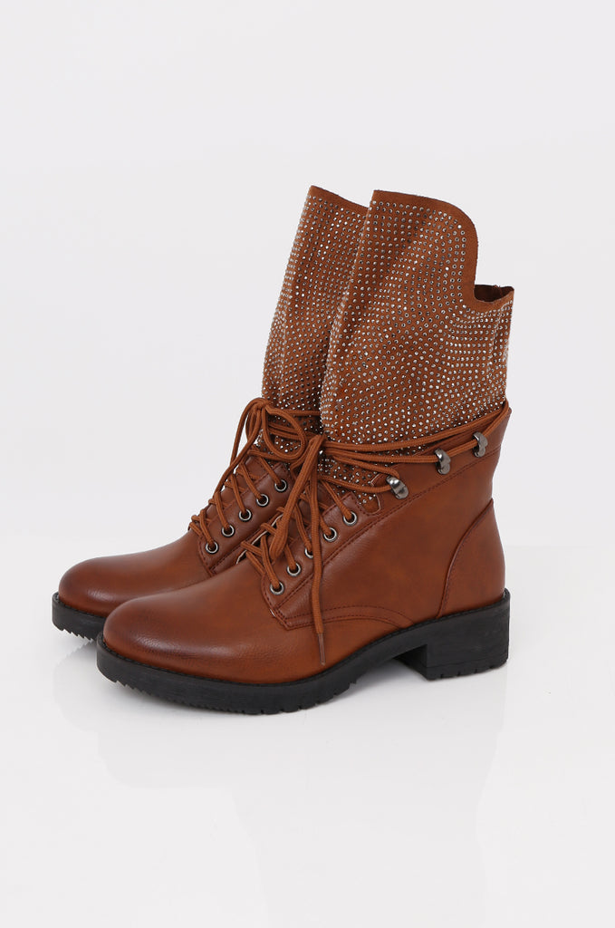 SMY2423-CAMEL STUDDED SOCK LACE UP BOOT