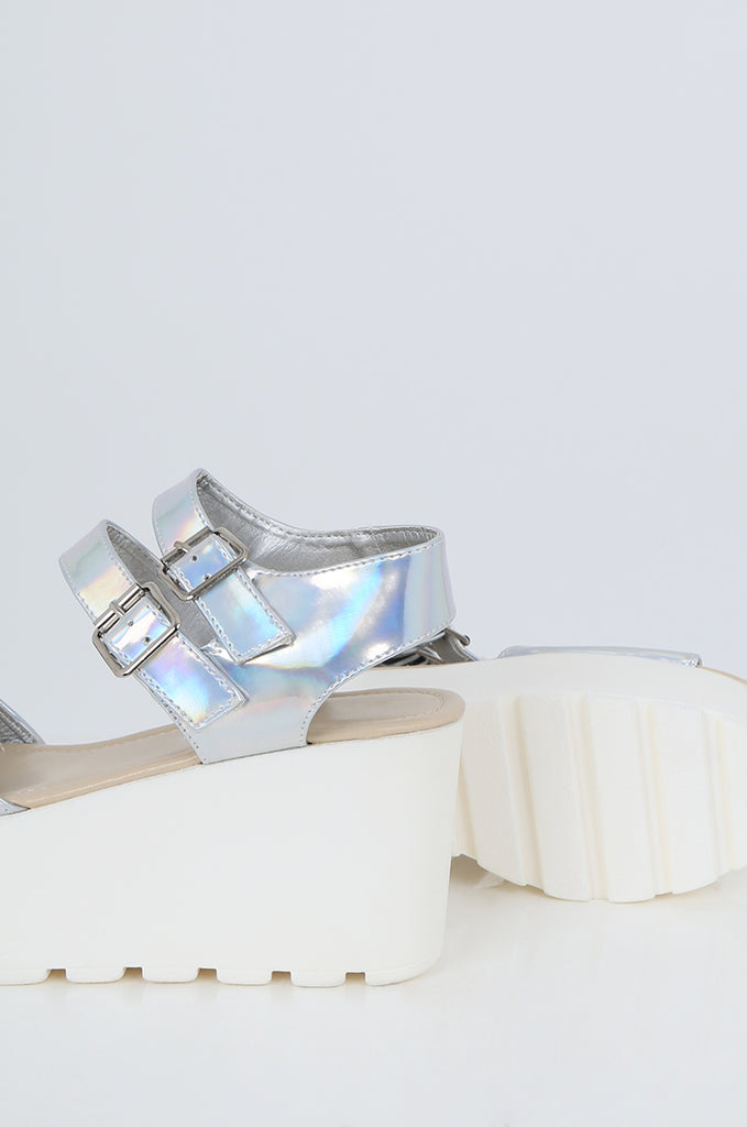 SES2490-SILVER HOLOGRAM BUCKLE ANKLE STRAP PLATFORM SANDALS view 3
