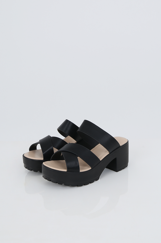 SES2489-BLACK CHUNKY STRAP PLATFORM SANDALS view main view