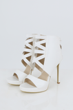 SES2486-WHITE FRINGE HEELED OPEN TOE STILETTOS