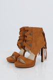 SES2486-TAN FRINGE HEELED OPEN TOE STILETTOS
