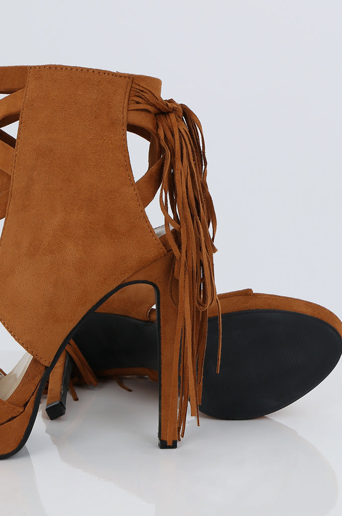 SES2486-TAN FRINGE HEELED OPEN TOE STILETTOS view 3