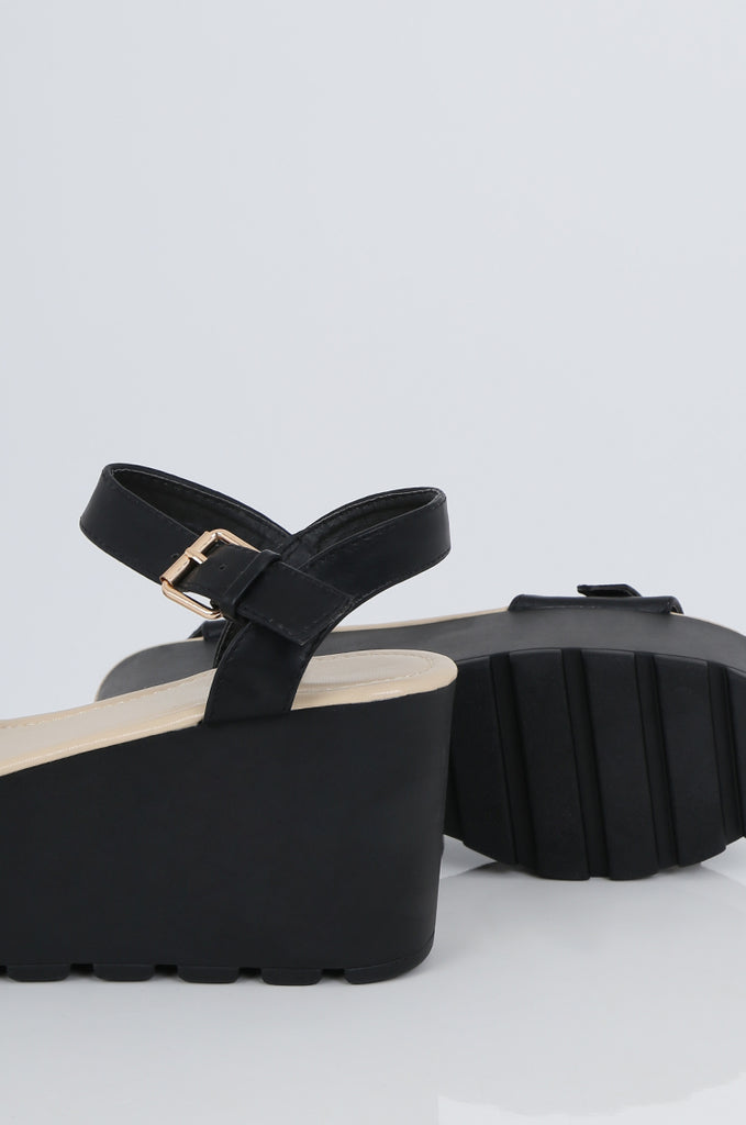 SES2491-BLACK BUCKLE ANKLE STRAP PLATFORM SANDALS view 3