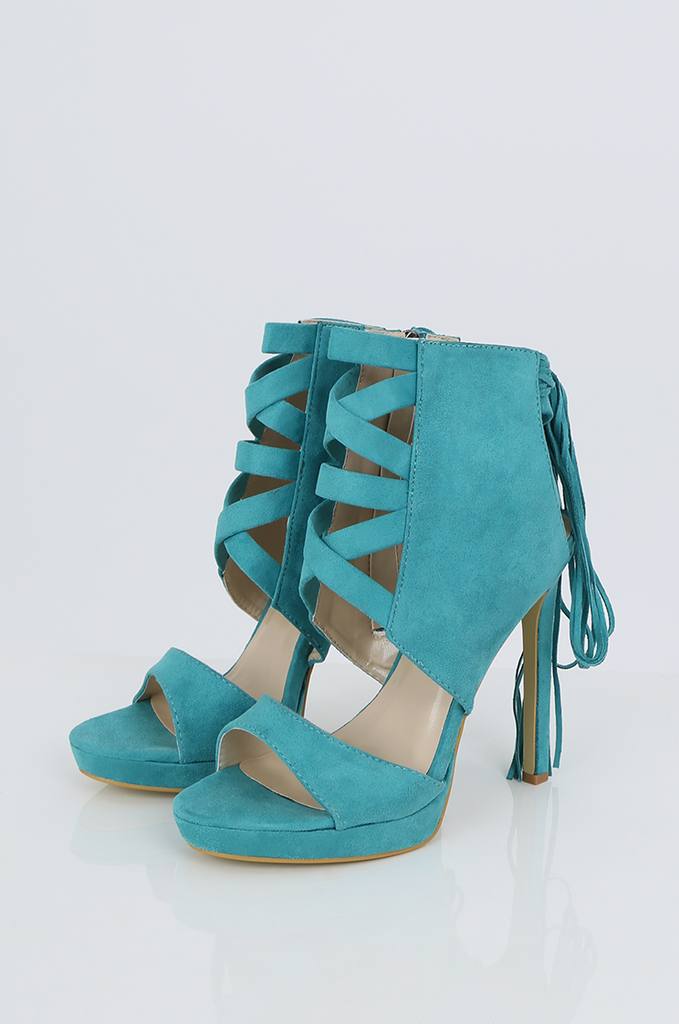 SES2486-GREEN FRINGE HEELED OPEN TOE STILETTOS