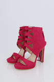 SES2486-PINK FRINGE HEELED OPEN TOE STILETTOS