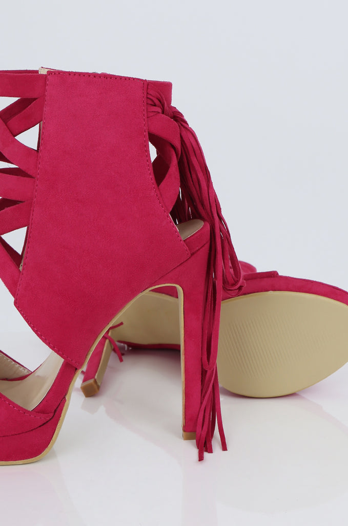SES2486-PINK FRINGE HEELED OPEN TOE STILETTOS view 3