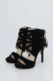 SES2486-BLACK FRINGE HEELED OPEN TOE STILETTOS