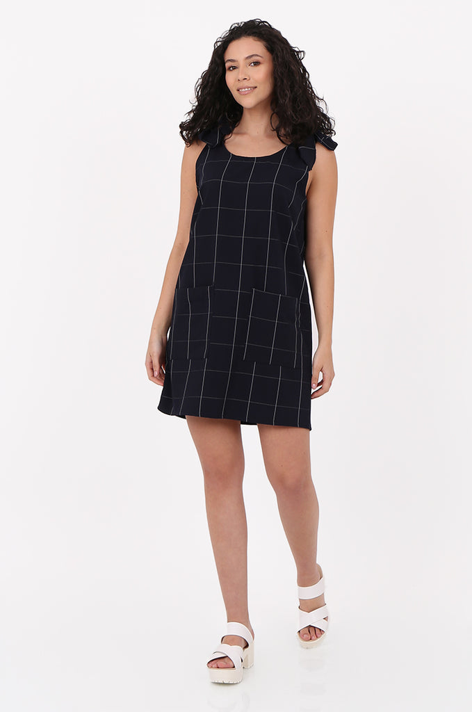 SAD2546-NAVY CHECK TIE SHOULDER DRESS