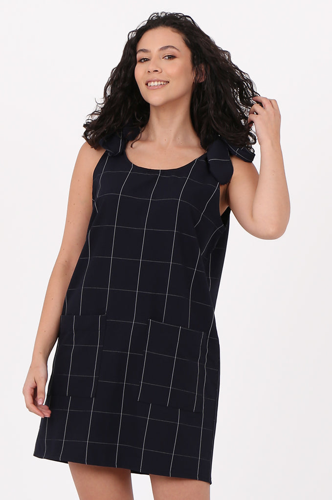SAD2546-NAVY CHECK TIE SHOULDER DRESS view 3