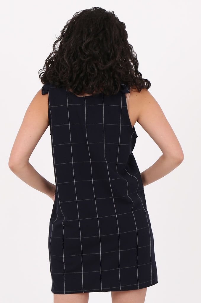 SAD2546-NAVY CHECK TIE SHOULDER DRESS view 4