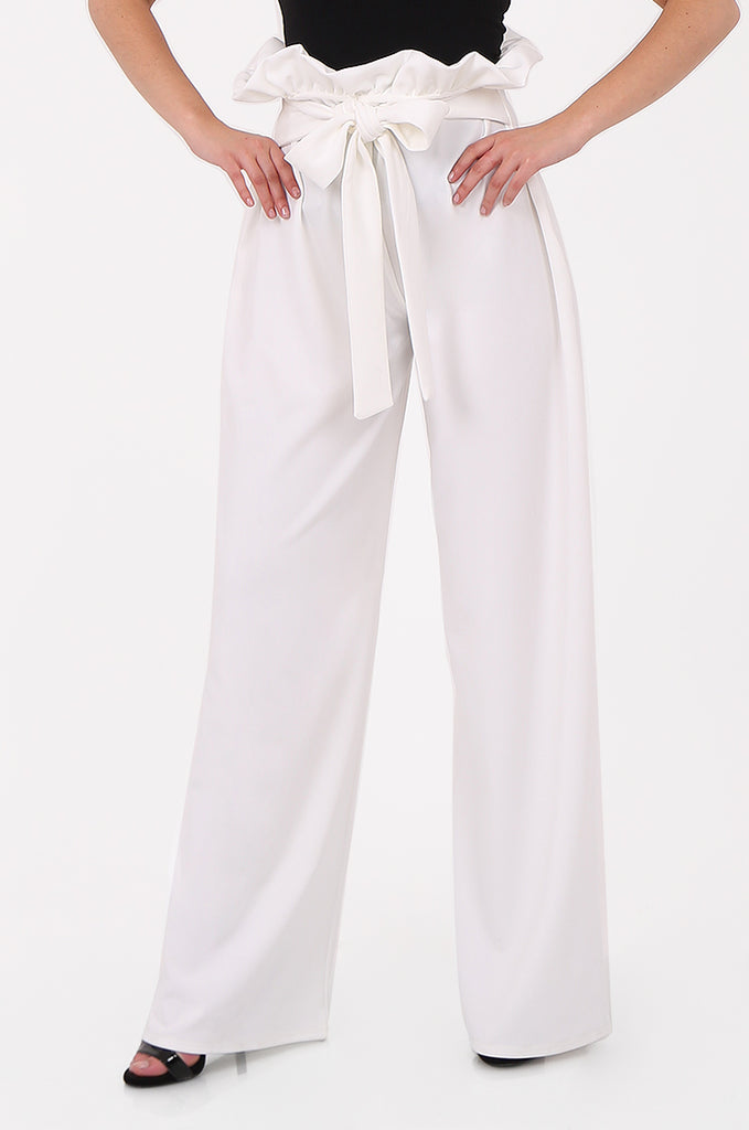 SOY2555-CREAM PAPERBAG TIE FRONT HIGH WAISTED TROUSER view 4