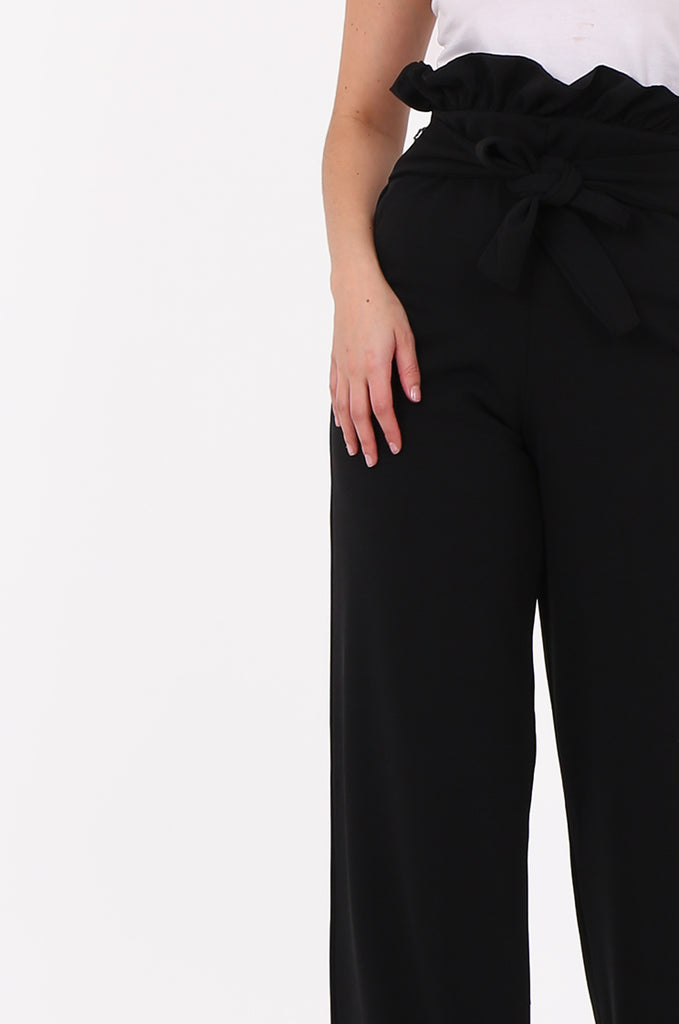 SOY2556-BLACK PAPERBAG TIE FRONT HIGH WAISTED TROUSER view 4