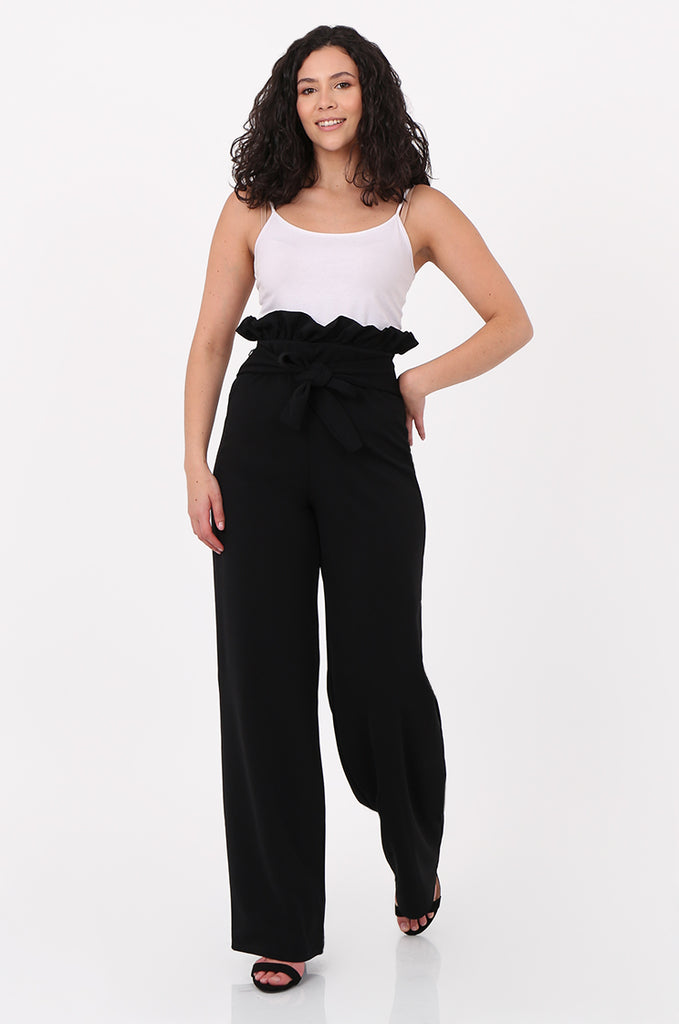 SOY2556-BLACK PAPERBAG TIE FRONT HIGH WAISTED TROUSER