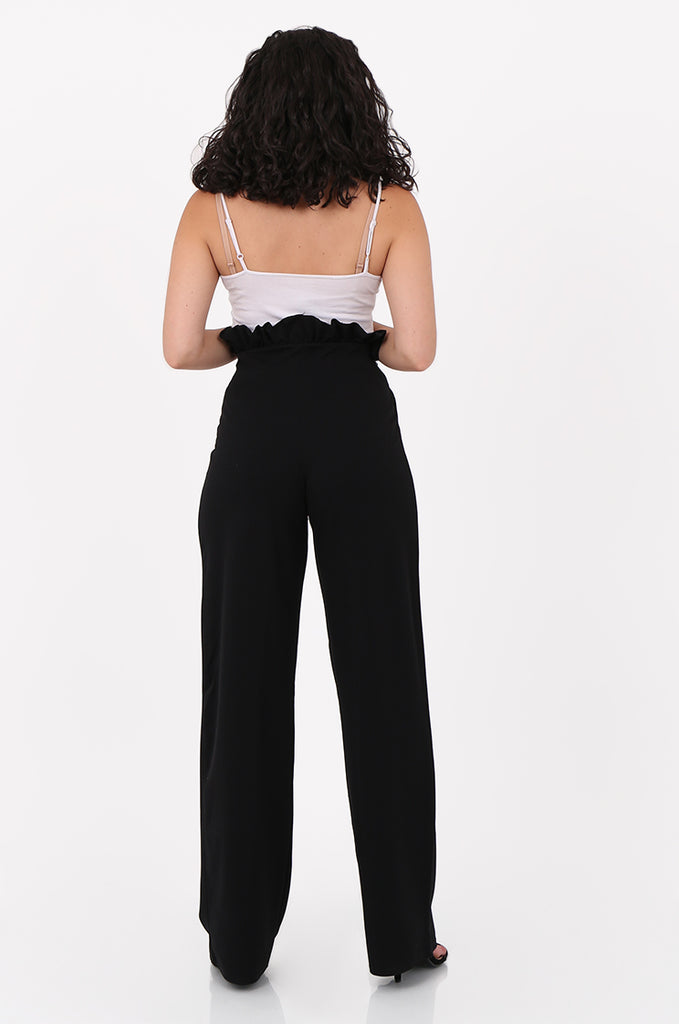 SOY2556-BLACK PAPERBAG TIE FRONT HIGH WAISTED TROUSER view 3